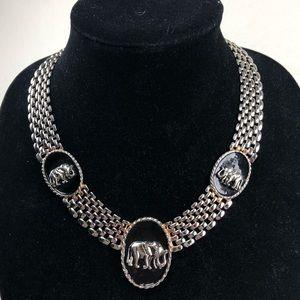 Vintage Silver Elephant Trio Chain Choker Necklace